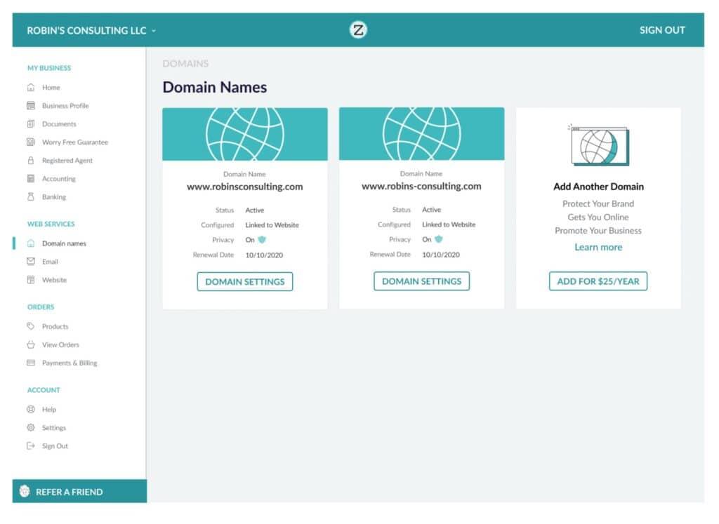 ZenBusiness website builder dashboard